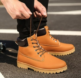 Qizhef Men Martin boots boots boots shoes boots desert boots yellow - intl Price Philippines