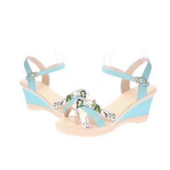 Qizhef Ms. Fashion Color Matching High Heels Wedge Sandals (Blue) -intl - 4