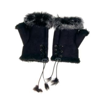 Rabbit Fur Girls Hand Wrist Warmer Fingerless Gloves - Black