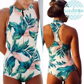 Rashguard One Piece Summer Leaf Racerback Zip Up Swimsuit Woman Swimwear Padded Bathing Suit