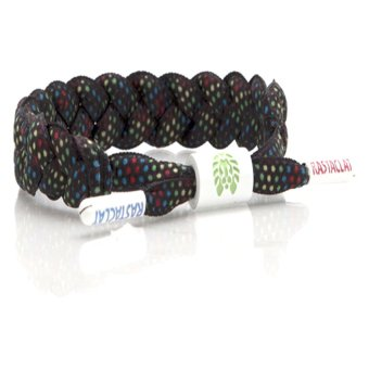 RASTACLAT Shoelace Bracelet Andy (Black/White/Multi Dots)