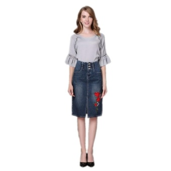 Ready Stock Women High Waist Embroidery Split A Line Knee Length Denim Skirts Plus Size S-4xL - intl - 4