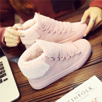 Renben Korean-style Plus velvet female warm canvas shoes cotton-padded shoes (Pink)