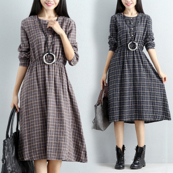 Retro Linen long section Plus-sized long-sleeved dress plaid dress (Dark gray color)