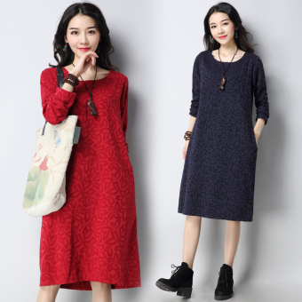 Retro Linen New style Plus-sized long-sleeved dress (Dark blue)