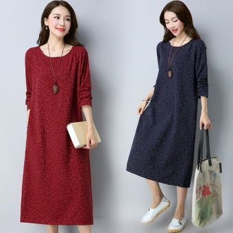 Retro Linen New style Plus-sized long-sleeved dress (Red)