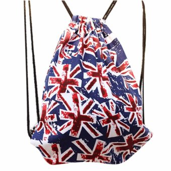 Retro Pull Rope Uk British Sack Drawstring Backpack - Blue Price Philippines
