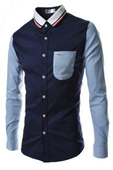 Reverieuomo CS32 Single Breasted Knit Collar Shirt (Navy Blue)