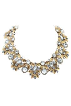 Rhinestone Gem Necklace (White)