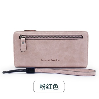 Rinka doll New style female Japanese and Korean style zip leather wallet (Pink)