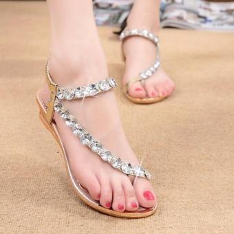 Rome Bling Bling Women Flat Sandals Toe Clip Lady Sandals Shoes Female Big Size 35-42 (Gold) - intl - 2