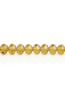 Rondelle Crystal Czech Loose Glass Beads Set of 150 (Yellow)