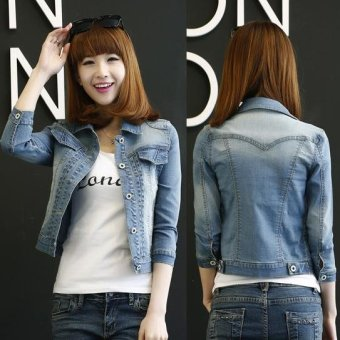 S-4XL Denim Jacket For Women Short Jeans Jacket Women Slim Denim Coat Long Sleeve -Blue - Intl