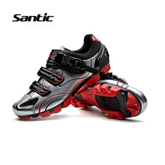 Santic Men MTB Cycling Shoes Auto-lock Bicycle Shoes Mountain Bike For Shimano SPD Eggbeater System Shoes 3 Colors,Silver Red - intl - 2