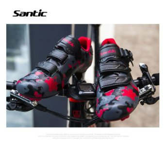 Santic Road Cycling Bicycle Shoes Bike Self-locking Look,SPD-SL,Speedplay System Men and Women Shoese Euipment Camouflage Series 3Colors Bicycle Shoes, Black-Red - intl - 4
