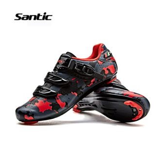 Santic Road Cycling Bicycle Shoes Bike Self-locking Look,SPD-SL,Speedplay System Men and Women Shoese Euipment Camouflage Series 3Colors Bicycle Shoes, Black-Red - intl - 2
