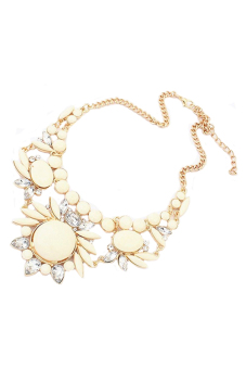 Sanwood Bubble Bib Choker Necklace Beige