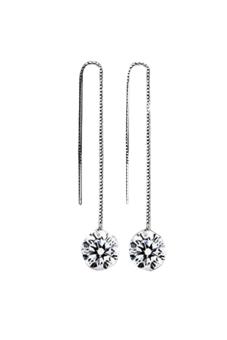 Sanwood Women's Rhinestone Silver Plated Drop Dangle Chain Earrings