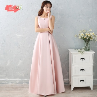 Satin long New style bridesmaid sisters dress bridesmaid dress (Jade pink B Section)