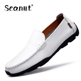 Seanut Fashion Genuine Leather Casual Loafers Men Driving Shoes(White) - intl