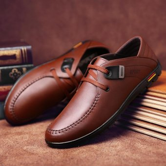 Seanut Fashion Men's Casual Leather Shoes (Brown) - intl - 5