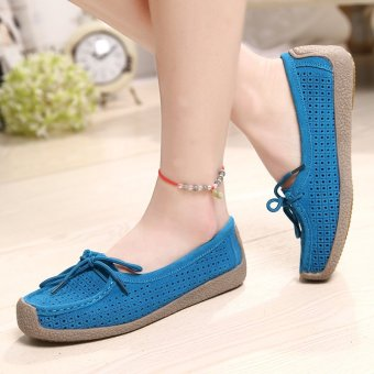 Seanut Fashion Women Casual Breathable Slip-On Leather Loafers (Blue) - intl - 4