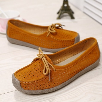 Seanut Fashion Women Casual Breathable Slip-On Leather Loafers (Orange) - intl - 4