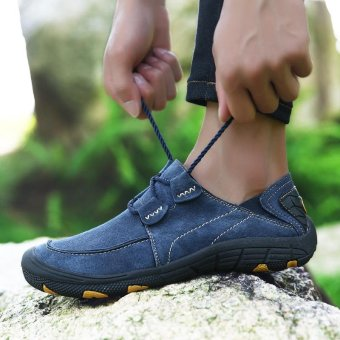 Seanut Men Genuine Leather Sport Shoes Outdoor Hiking Shoes(Blue) - intl - 5