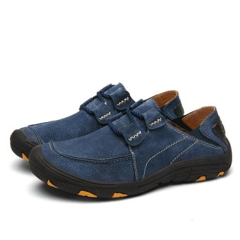 Seanut Men Genuine Leather Sport Shoes Outdoor Hiking Shoes(Blue) - intl - 3