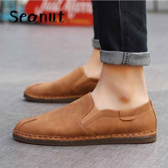 Seanut Men Leather Retro Slip-on Fashion Loafer Driving Shoes(Brown) - intl ...