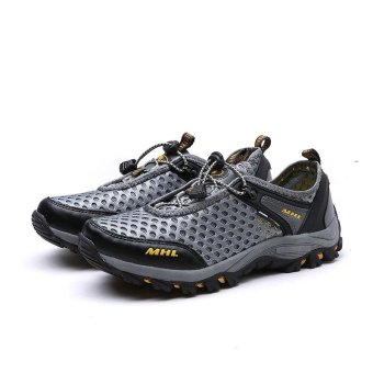 Seanut Men Textile Breathable Outdoor Hiking Shoes (Grey) - intl - 4