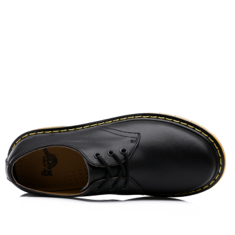 Seanut Men's Casual Genuine Leather Lace Shoes Formal Shoes (Black) - 4