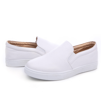 Seanut Men's Casual Slip-On Loafers PU Upper Casual Shoes (White) - 3
