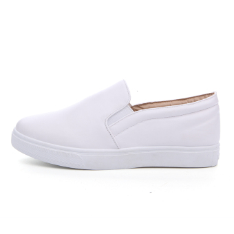 Seanut Men's Casual Slip-On Loafers PU Upper Casual Shoes (White) - 2