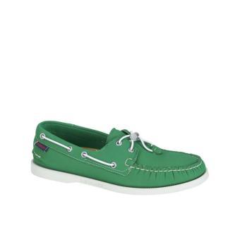 Sebago Docksides Men Boat Shoes (Green Neoprene) - 2