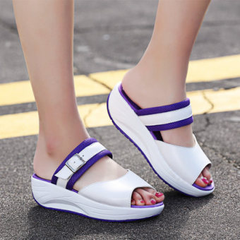 Semi-high heeled student shook his shoes sandals (Purple)