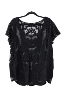 Semi Sheer Shirt Sleeve Lace Crochet Black - picture 2