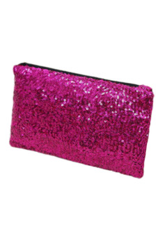 Sequins Clutch Evening Party Purse (Rose Red)