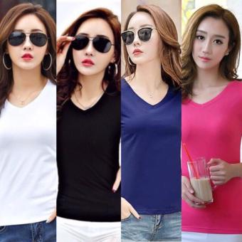 Set of 4 Pieces Fashion Cotton V Neck Shirts for Women - Navy Blue, PInk, Black and White