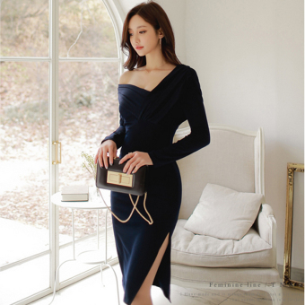 Sexy autumn New style off-the-shoulder short dress
