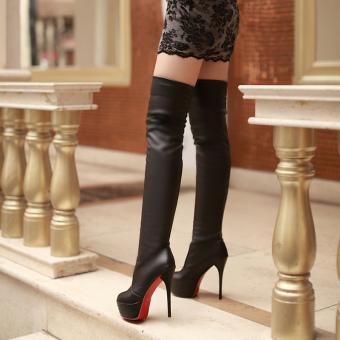 Sexy Boots Women 2017 Ultra High Heels Boots Platform Thin HeelsLong Boots (black) - Intl - 2