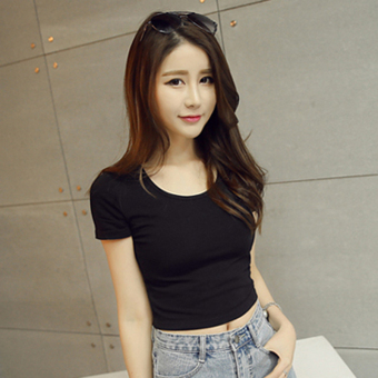 Sexy cotton solid color slim fit T-shirt Top (Black round neck)