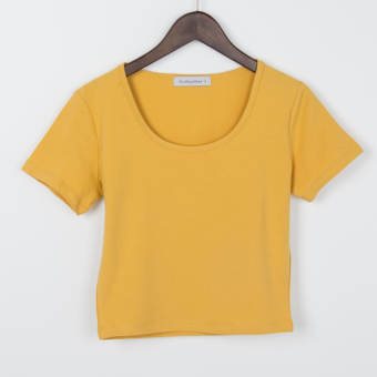 Sexy cotton solid color slim fit T-shirt Top (Ginger yellow round neck)