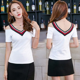 Sexy female New style slim fit T-shirt suspenders (White)