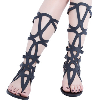 Sexy Hollow Out Solid Color Zipper Gladiator Sandals(Black)
