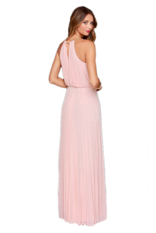Sexy O-neck Sleeveless Tank Dress (Pink)