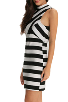 Sexy Sleeveless Bodycon Pencil Dress (White/Black) - picture 2
