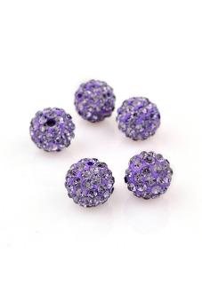 Shamballa Crystal Beads Bracelet Set of 5 (Dark Violet)