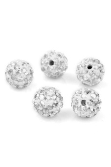 Shamballa Crystal Clay Pave Rhinestone Beads (White) - picture 2