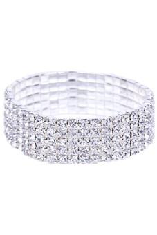 Shiny 5 Row Rhinestone Crystal Bangle Bridal Bracelet (White)